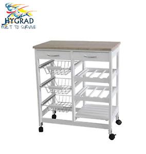 Wooden Kitchen Trolley Island Dining Cart Worktop Basket Storage In Grey & White
