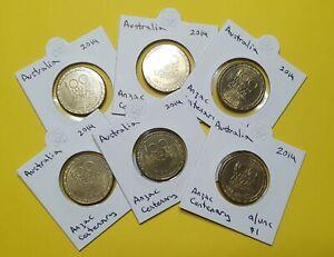 2014 Australian A/Unc One Dollar Coin - Anzac Spirit Centenary - in Coin Holder