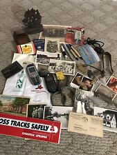 Vintage Junk Lot Cards Phones Arrowheads , Teeth, Cast Iron Bookend + Beer Adv.+