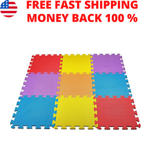 Solid Foam Exercise Mat Safety Play Floor for Kids Tiles Cushions 10 Square Ft