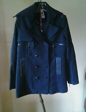 NEW RUD by RUDSAK WOMEN  DOUBLE BREASTED COAT LEATHER TRIM NAVY BLUE SZ M $ 300