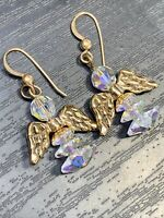 14 karat gold filled Faith Aurora Borealis AB  crystal angel pierced earring set
