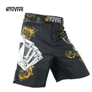 Yellow Poker Warrior Boxing Fitness Shorts MMA Muay Thai Cage Fight Gym Pants