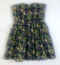 Womens BEBE Floral Strapless Crinoline Lined Mini Dress Sz M Black Blue Green