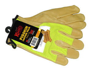 Kinco 908 Pigskin Leather Gloves + Nylon Mesh Back Reflective Material - Large