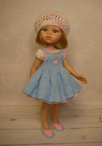 Dress, Pinafore, Beret, Shoes for doll Paola Reina Little Darling 32cm handmade