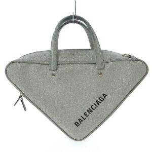 Auth BALENCIAGA Triangle Duffel S 476975 Silver Handbag