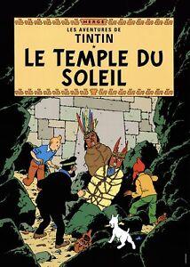 HERGE Les Aventures de Tintin: Le Temple du Soleil 27.5 x 19.5 Poster Contempora