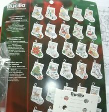 "BUCILLA SET 30 TINY ( 4"" by 3.5"") COUNTED CROSS STITCH CHRISTMAS STOCKINGS KIT"