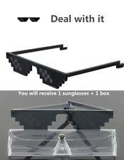 Thug Life Attitude Sunglasses 8 Bit Pixel Deal With IT Unisex Glass Eyewear+Box