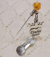 Crochet Queen Yarn Crystal HatPin ~Lapel Hat Brooch Stick Pin - approx. 76mm