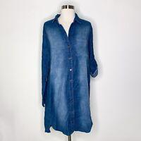 Side Stitch Dress Women M Navy Blue Corduroy Button Front Long Tab Sleeve NWT