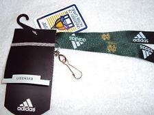 "NOTRE DAME FIGHTING IRISH ND Green NCAA Adidas 18"" x 3/4"" Lanyard Keychain NEW"