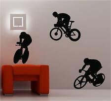 3 x cyclistes vélos Art mural autocollant vinyle chambre d'enfant