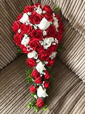 Wedding Flowers Bride's Shower Bouquet Red & White Roses With Gyp