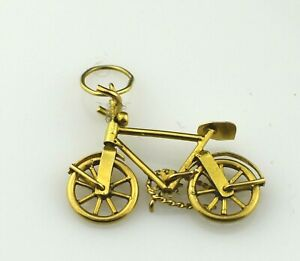 Vintage 18K Yellow Gold Bicycle Charm With Moving Wheels