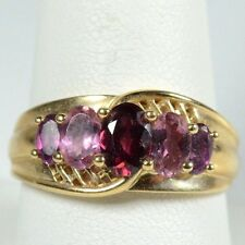 14K YELLOW GOLD SHADES OF EXOTIC PINK TOURMALINE BAND RING 5.5 GRAMS / SIZE 10