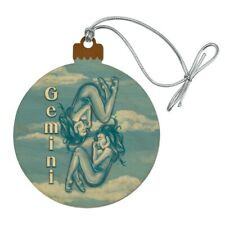 Gemini the Twins Zodiac Horoscope  Wood Christmas Tree Holiday Ornament