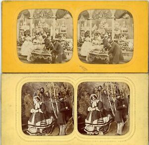 2 VINTAGE HOLD TO LIGHT TISSUE STEREOVIEWS, PEOPLE & ACTIVITIES