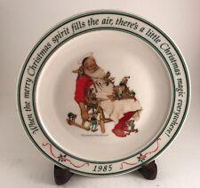 1985 Hallmark Fine Porcelain Christmas Plate By Norman Rockwell Santa Sleeping
