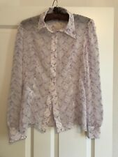 Prada Lilac Silks Chiffon Mermaid Print Blouse Shirt New SZ It 44/Uk 12