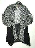 CHICO'S EASYWEAR Womens Black & White Open Front Cardigan Sweater Size 0 (SMALL)