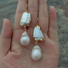 24k Gold Plated White Biwa & Keshi Freshwater Pearl  Earrings