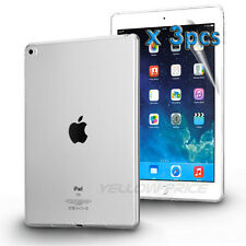 For iPad Air 2 iPad 6 Screen Protector/Thin Soft TPU Gel Transparent Cover Case