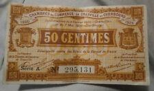BILLET DE NÉCESSITÉ 50 CENTIMES CHAMBRE DE COMMERCE DE GRANDVILLE ET CHERBOURG