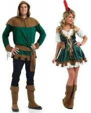 Mens Robin Hood & Womens Sexy Outlaw Costumes Couples Fancy Dress Adults Party