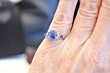 Antique Art Deco 18k white gold filigree natural 1.7 ct blue sapphire ring sz 5