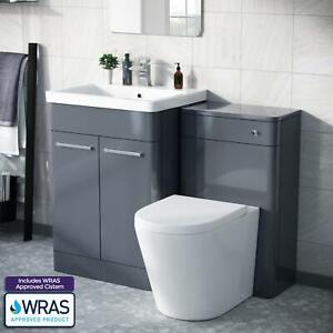 Modern Steel Grey Vanity Unit and WC Toilet Suite Basin Sink Cabinet   Torex