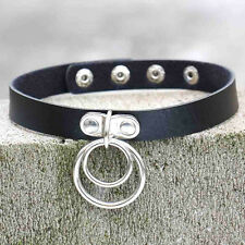 Classic Punk Rock Dark Harajuku Double O RING Leather Collar Choker Necklace New