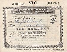 Postal Note 2/- Victoria used 1965 Money Order Office Numurkah postmark Oakleigh