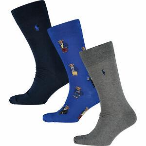 Polo Ralph Lauren Mens 3 Pack Polo Bear Socks   Royal Blue Navy Grey   One Size