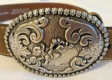 NOCONA TODDLER Brown Leather Belt with Silver Metal Oval Buckle-Size 18