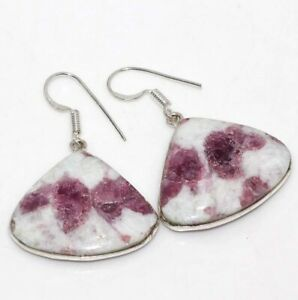 """Pink Tourmaline 925 Sterling Silver Plated Earrings 1.6"""" Ethnic Gift GW"""