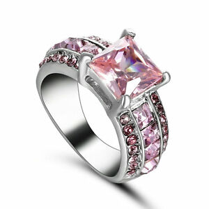 Nice Classic Pink sapphire Gems Fashion Women 10KT white gold filled Ring Size 6