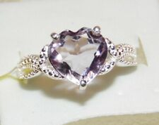 GENUINE AMETHYST HEART CUT  RING  SOLID  STERLING SILVER   SIZE 8 *  3.2 CTW
