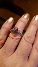 2/5 CARAT DIAMOND 3/4 CARAT RUBY SOLITAIRE 10KT SOLID GOLD ENGAGEMENT RING  Sz 7
