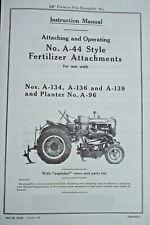 Farmall A A 44 Fertilizer A 134 A 136 A 138 Amp A 96 Side Dresser Owners Manual