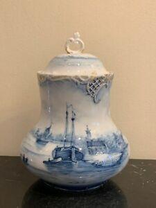 Antique Leonard Vienna Austria Porcelain Mark Delft Lidded Jar
