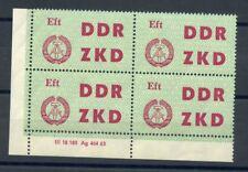 "DDR-DIENST ZKD Nr.4 ** ECKRAND-Viererblock DRUCKVERMERK ""DV2"" !!! (107724)"