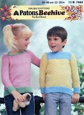~ Patons Knitting Pattern For Child's Sweaters With Contrasting Rib ~
