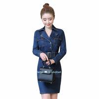 New Women's Bodycon Denim Dresses Cotton Jean Ladies Denim Dresses Long Sleeves