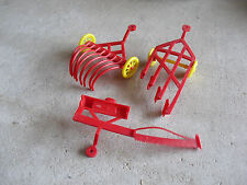 Lot of 3 Vintage Red Plastic Farm Implements Tractor Accessories