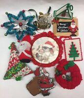 Vtg Lot HANDMADE Holiday Christmas Ornament NEEDLECRAFT Mid-Century, Granny Chic