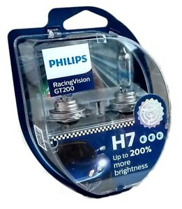 H7 PHILIPS RacingVision GT200 Halogen 12V 60/55W +200% 2st. PX26d 12972RGTS2