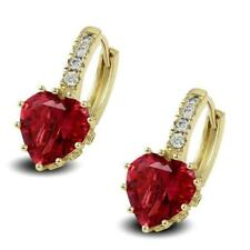 18ct Gold Filled Womens Hoop Earrings Ruby Red Heart CZ Crystals