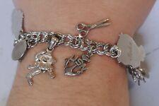 Vintage Sterling Charm Bracelet - WWII, Walt Disney, USN Anchor & Ect. Charms